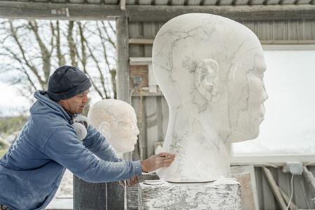 William Peers carving 'Origin VI'