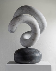 Eo: CARRARA MARBLE, 2018: W 45cm, H 70 cm, D 45 cm; currently exhibiting with Everard Read, London