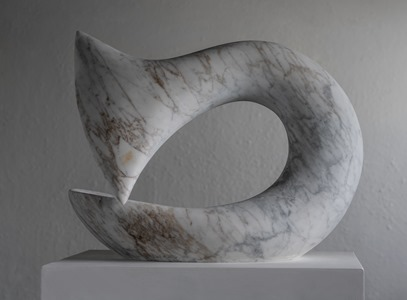 Iksan: CARRARA MARBLE, 2018: W 54cm, H 46 cm, D 23 cm; currently exhibiting with Everard Read, London