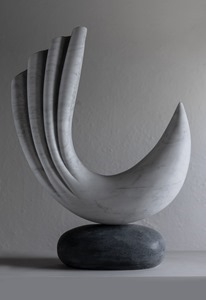 Krillo: CARRARA MARBLE, 2018: W 41cm, H 54 cm, D 13 cm; currently exhibiting with Everard Read, London