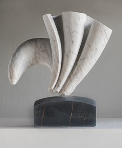 Perisso: CARRARA MARBLE, 2018: W 37 cm, H 39 cm, D 15 cm; currently exhibiting with Everard Read, London