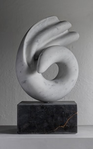 Shio: CARRARA MARBLE, 2018: W 37cm, H 57 cm, D 15 cm; currently exhibiting with Everard Read, London