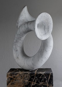 Sol: CARRARA MARBLE, 2018: W 41cm, H 79 cm, D 30 cm; currently exhibiting with Everard Read, London