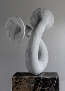 Sol: CARRARA MARBLE, 2019: W 41cm, H 79 cm, D 30 cm; currently exhibiting with Everard Read, London