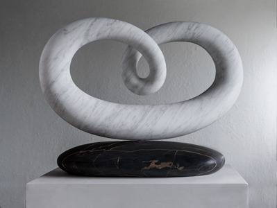 Voche: CARRARA MARBLE, 2018: W 48cm, H 10 cm, D 24 cm; currently exhibiting with Everard Read, London