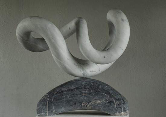 Yoha: CARRARA MARBLE, 2017: W 63 cm, H 61cm, D38 cm; currently being exhibited www.jmlondon.com