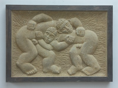 BOYS FIGHTING: HORNTON STONE, 2000: W 66 cm, H 47.5 cm, D 6.5 cm; £9,500