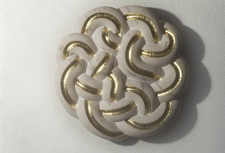 EMANATE: PORTUGUESE MARBLE AND GOLD LEAF, 2012; W 61cm, H 61 cm, D 10 cm; PRICE: £8,500